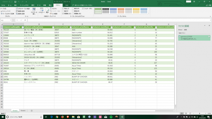 EXCELのPowerQueryによるjsonデータの取り込み